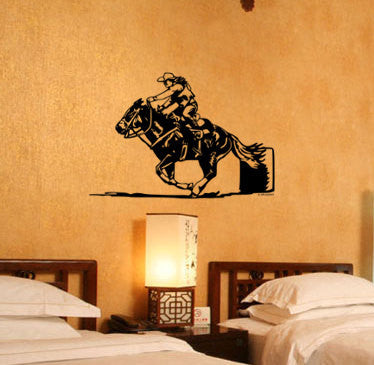 Horse Barrel racer-Vinyl wall decal-Horse decal-Rodeo barrel racer-36 X 24 inches
