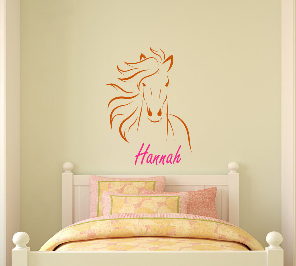 Horse name horse decal personalized pony mustang wall decor inches ...