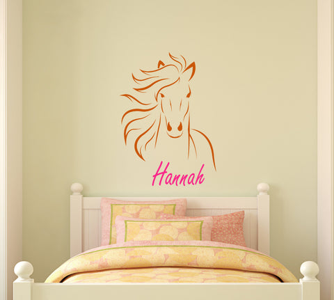 Horse name horse decal personalized pony mustang wall decor inches 22 X 31 inches