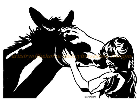 Horse-Mule and Child wall decal, Horse sticker-Mule decal, 28 inches x19 inches. 767-HS