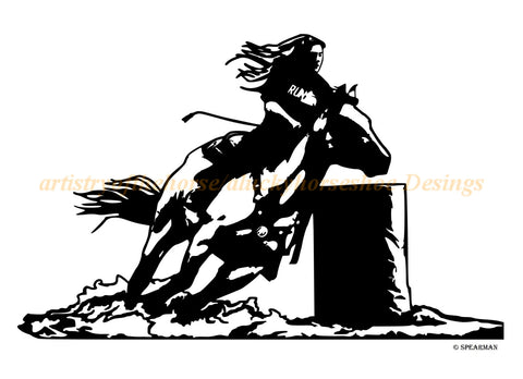 Horse Barrel racer-Vinyl wall decal-Horse decal-Rodeo barrel racer-32 X 20 inches, 820-HW