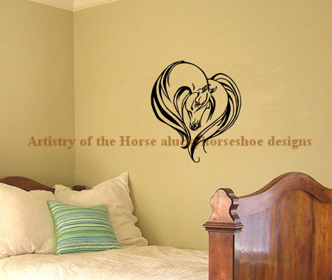 "Horse Decal - Horse Heart wall decal - Arabian decal, Girls room, Wedding decal 27"" x 32"""