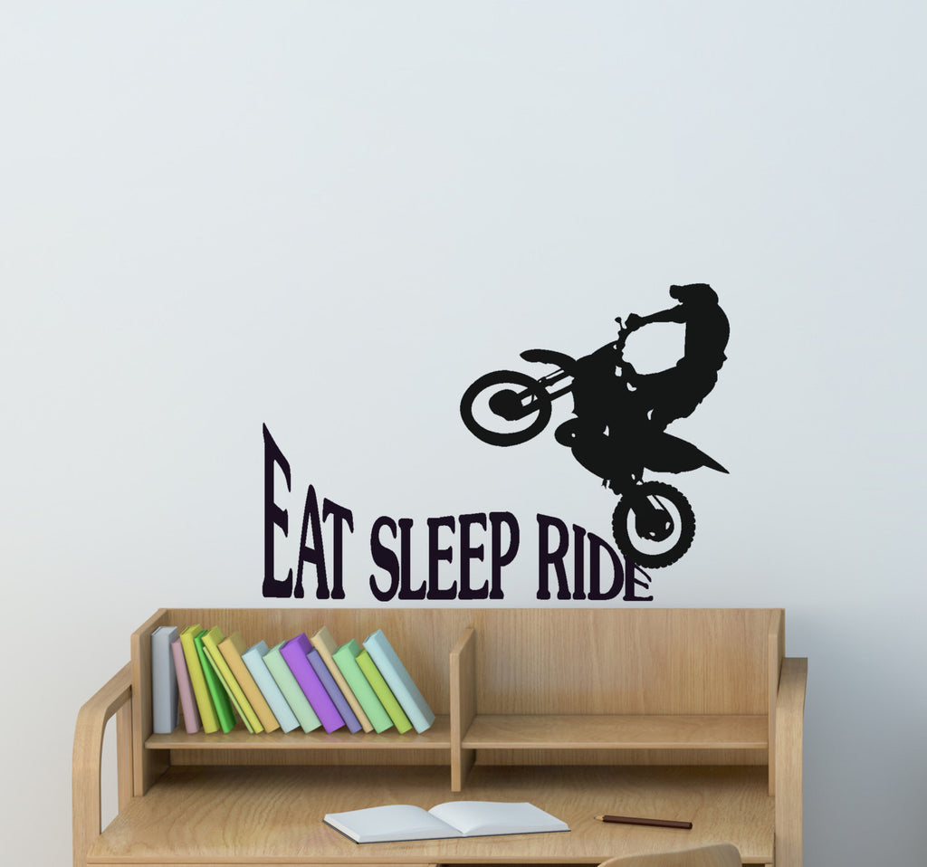 Dirtbike Motorcycle Wall Decal Motocross Rider Quote Teen Dorm