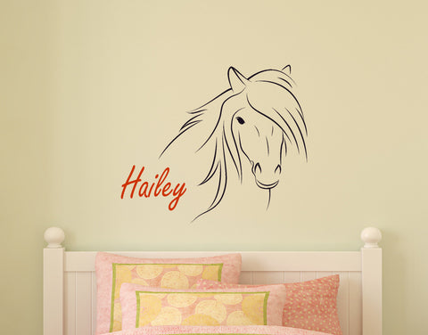 Baby Girls Nursery Horse Wall Decal Childs Personalized Pony Sticker Teen Girl Name Gift Mustang Vinyl Wall Words Childs Name 28 X 33 inches