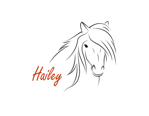 Horse Decal Personalized Pony Sticker Nursery Western Decor Teen Room Decal Dorm 28 X 33 inches