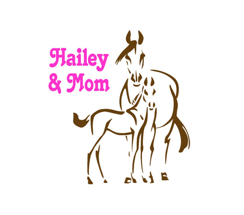 Horse, Personalized Horse, Personalized, Mare Foal, Girl's Room, Teen Room, Nursery, 26 X 28 inches