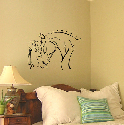 Horse Decal Horse Rider Decal Girls Bedroom Dorm Decor Teen Girl Western Decor 21 X 28 inches