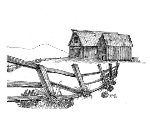 "Print, Pen and Ink Drawing of Two Barns, The Lonesome Couple, 81/2"" X 11"""