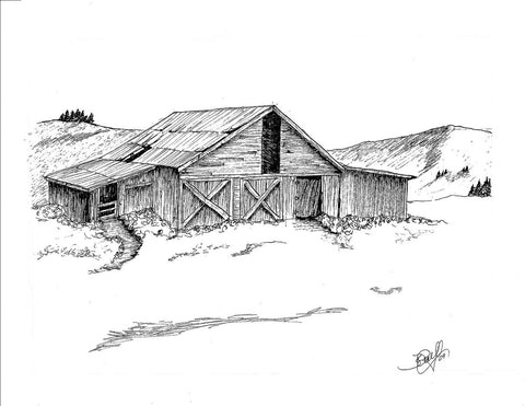 "Print, Pen and Ink Drawing, Yellowstone Barn, Western Decor, Drawing, 81/2"" X 11"""