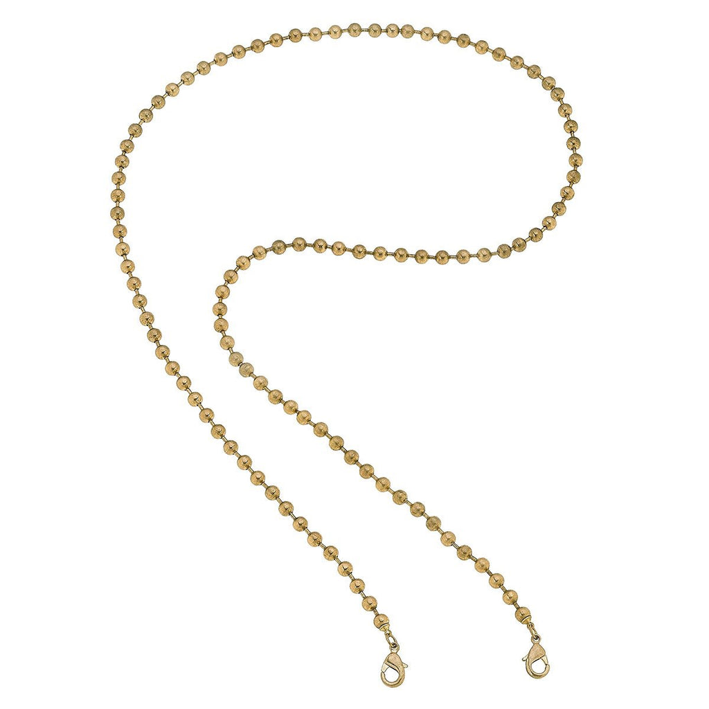 Ball Station Chain Mask Necklace -Gold 32""