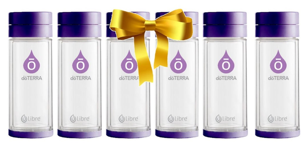 6-pack of doterra branded durable glass water bottles with tough poly shell