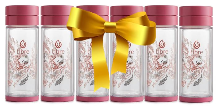 6-pack of pretty pink glass infuser bottles - great for gifting
