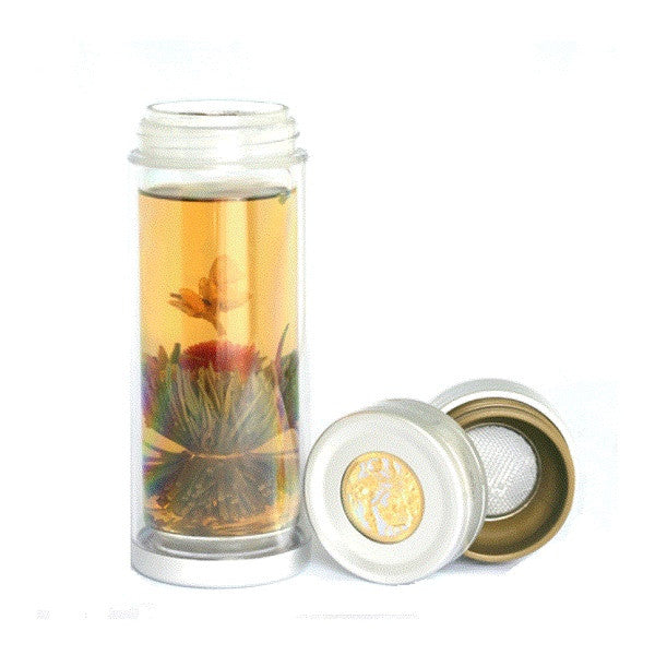 durable, versatile, thermal glass water bottle with fruit and tea infuser filter
