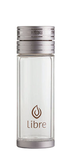 9oz classic silver travel tea glass with built in filter