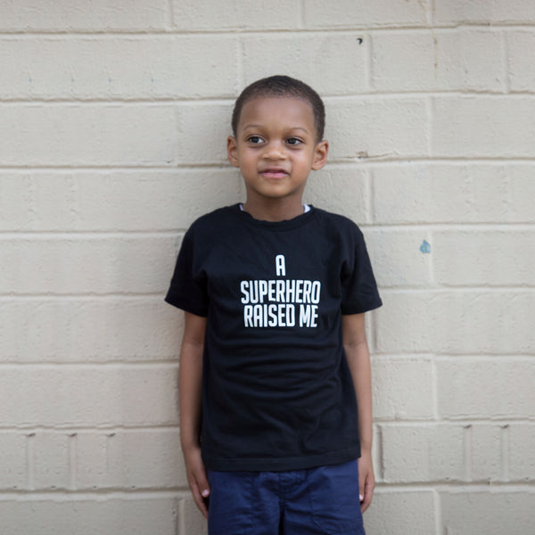 A Superhero Raised Me Unisex Kids T-Shirt - The Carter Brand - Black By Popular Demand - Rooting For Everybody Black - Black Pride Apparel