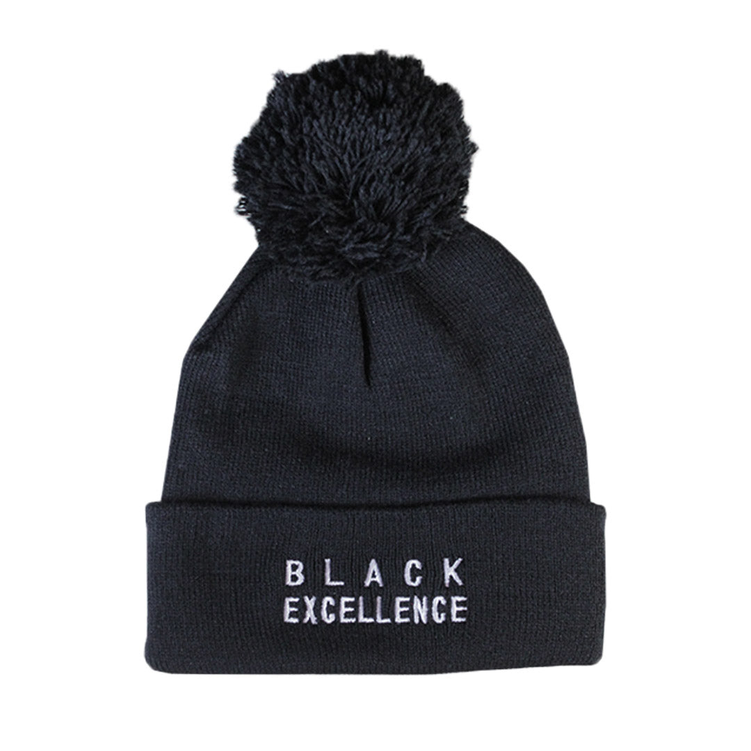 Black Excellence Pom Beanie - The Carter Brand - Black By Popular Demand - Rooting For Everybody Black - Black Pride Apparel
