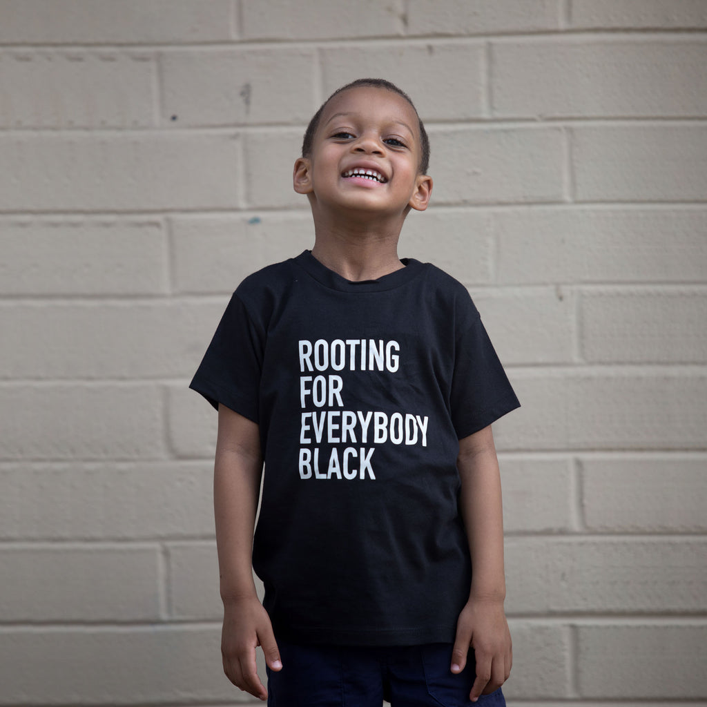 Rooting For Everybody Black Unisex Kids T-Shirt - The Carter Brand - Black By Popular Demand - Rooting For Everybody Black - Black Pride Apparel