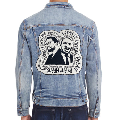 Dream By Any Means Denim Jacket - The Carter Brand - Black By Popular Demand - Rooting For Everybody Black - Black Pride Apparel