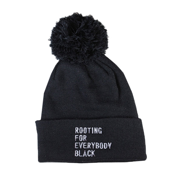 Rooting for Everybody Black Pom Beanie - The Carter Brand - Black By Popular Demand - Rooting For Everybody Black - Black Pride Apparel