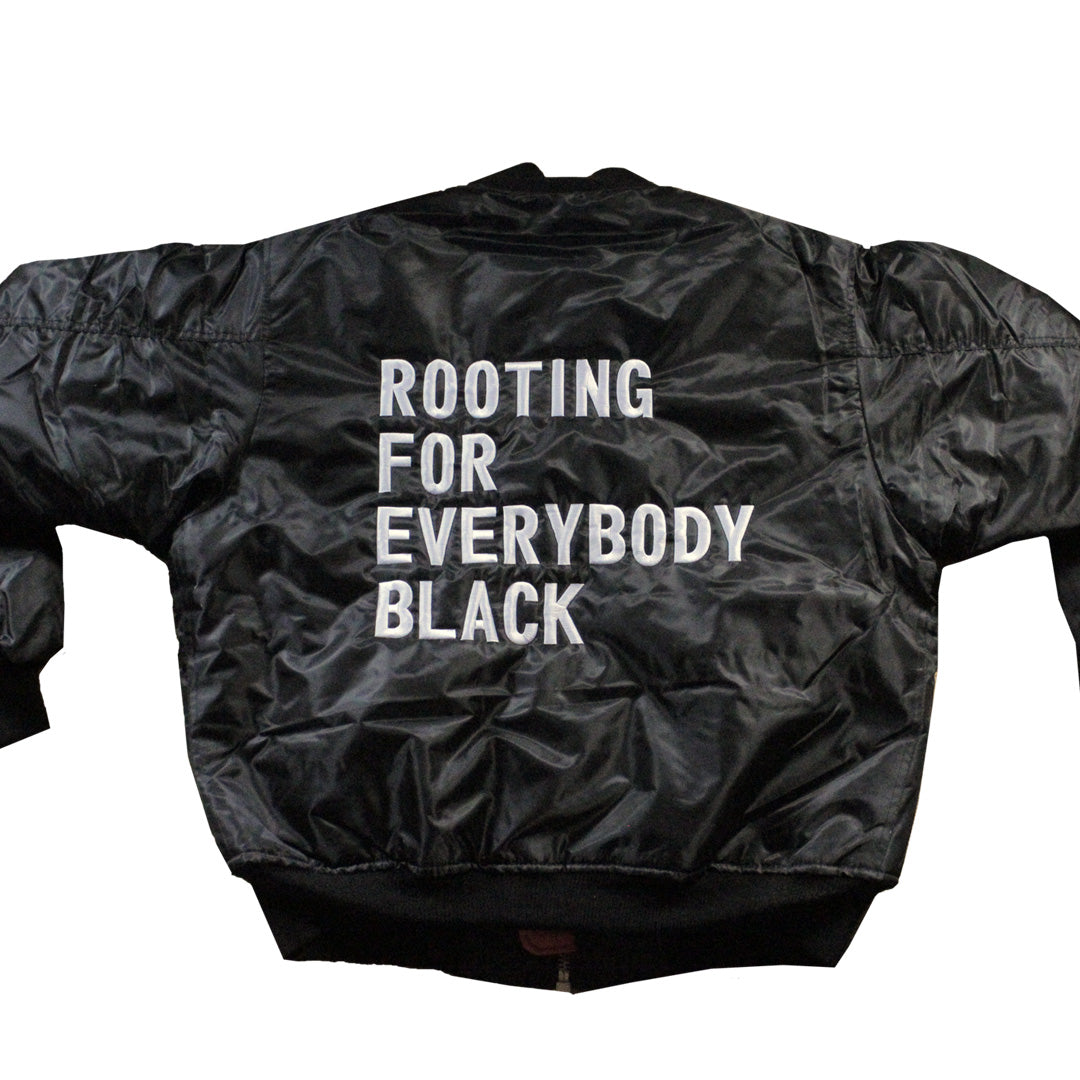 Rooting For Everybody Black Bomber Jacket - The Carter Brand - Black By Popular Demand - Rooting For Everybody Black - Black Pride Apparel