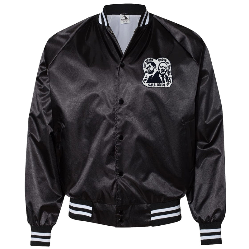 Dream By Any Means Satin Jacket - The Carter Brand - Black By Popular Demand - Rooting For Everybody Black - Black Pride Apparel