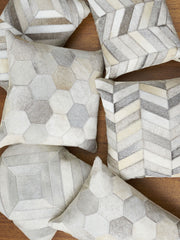 Cow Hide Hexagon Rectangle Cushion