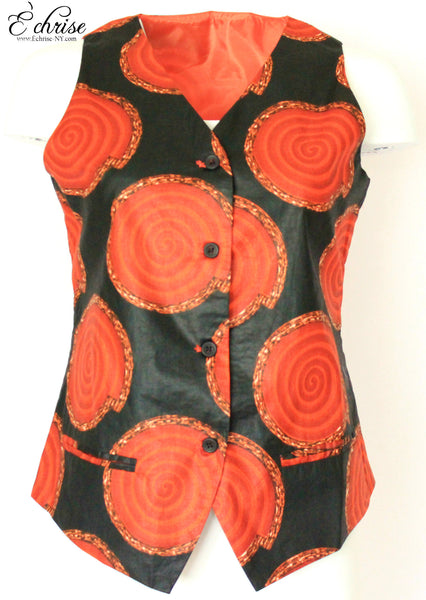 Q120V Geometric WaxPrint Vest/Waist Coat - V2638 Black/Red - Échrise