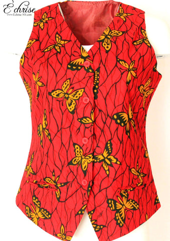Q111V Geometric WaxPrint Vest/Waist Coat - V1211 Red/Black/Yellow - Échrise