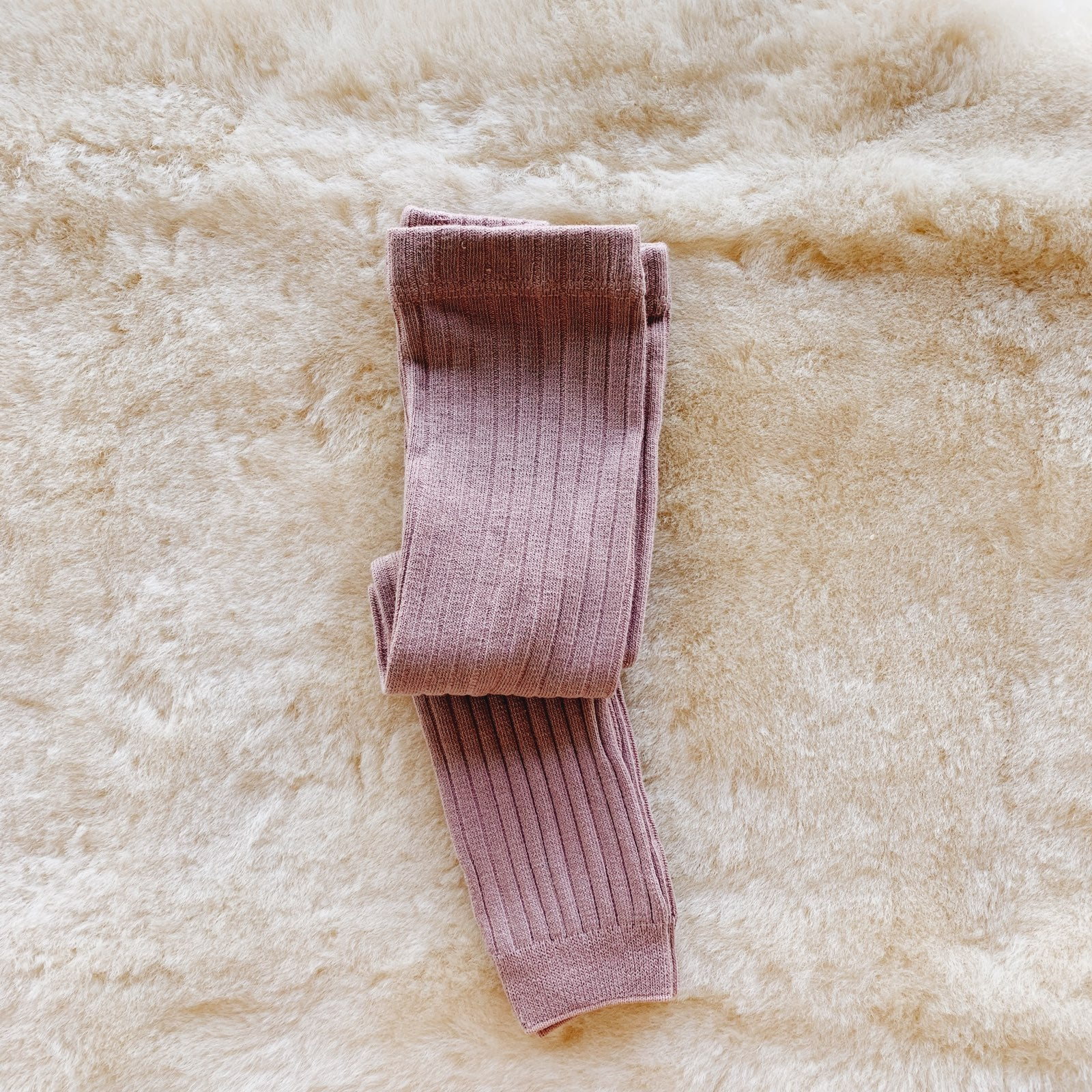 Footless Ribbed Tights - Rose