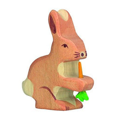 Holztiger Wooden Rabbit with Carrot - fawn&forest