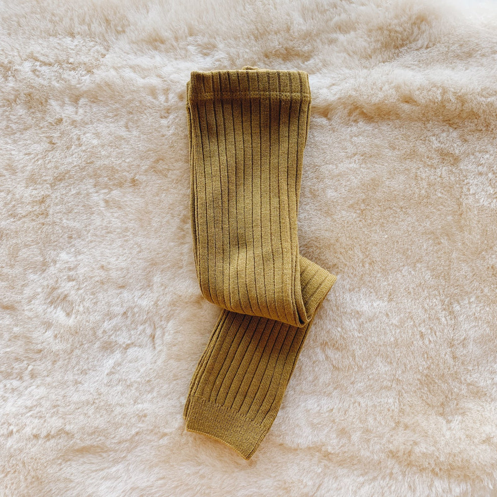 Footless Ribbed Tights - Gold
