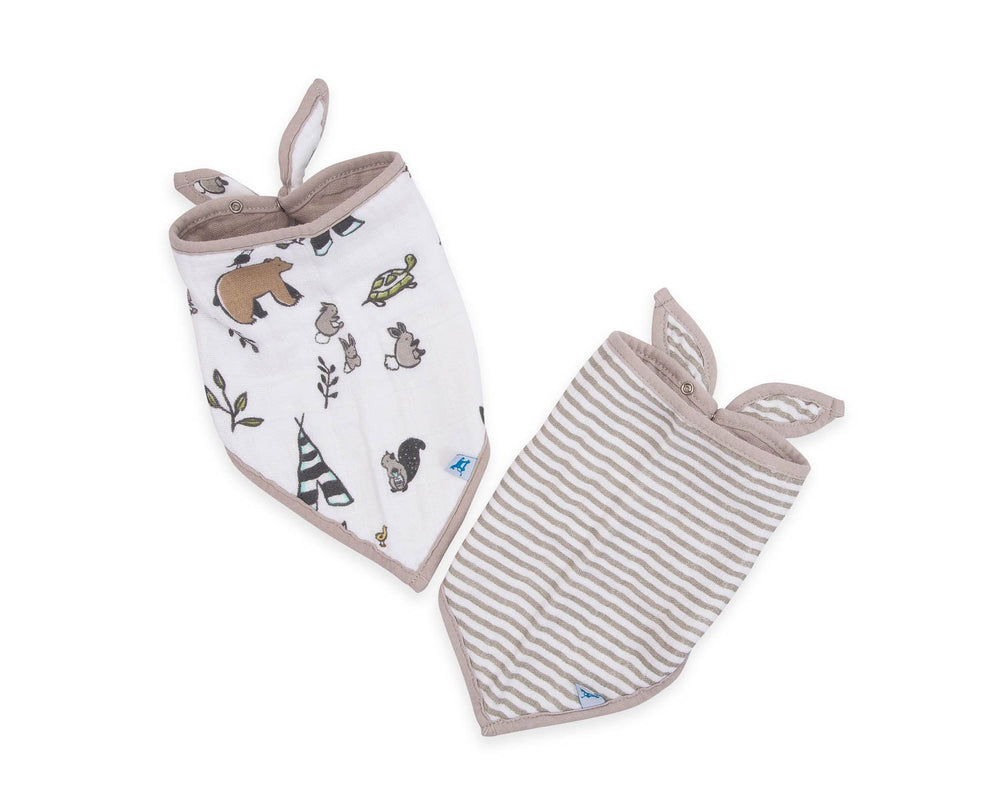 Little Unicorn Cotton Muslin Bib Set- Forest Friends