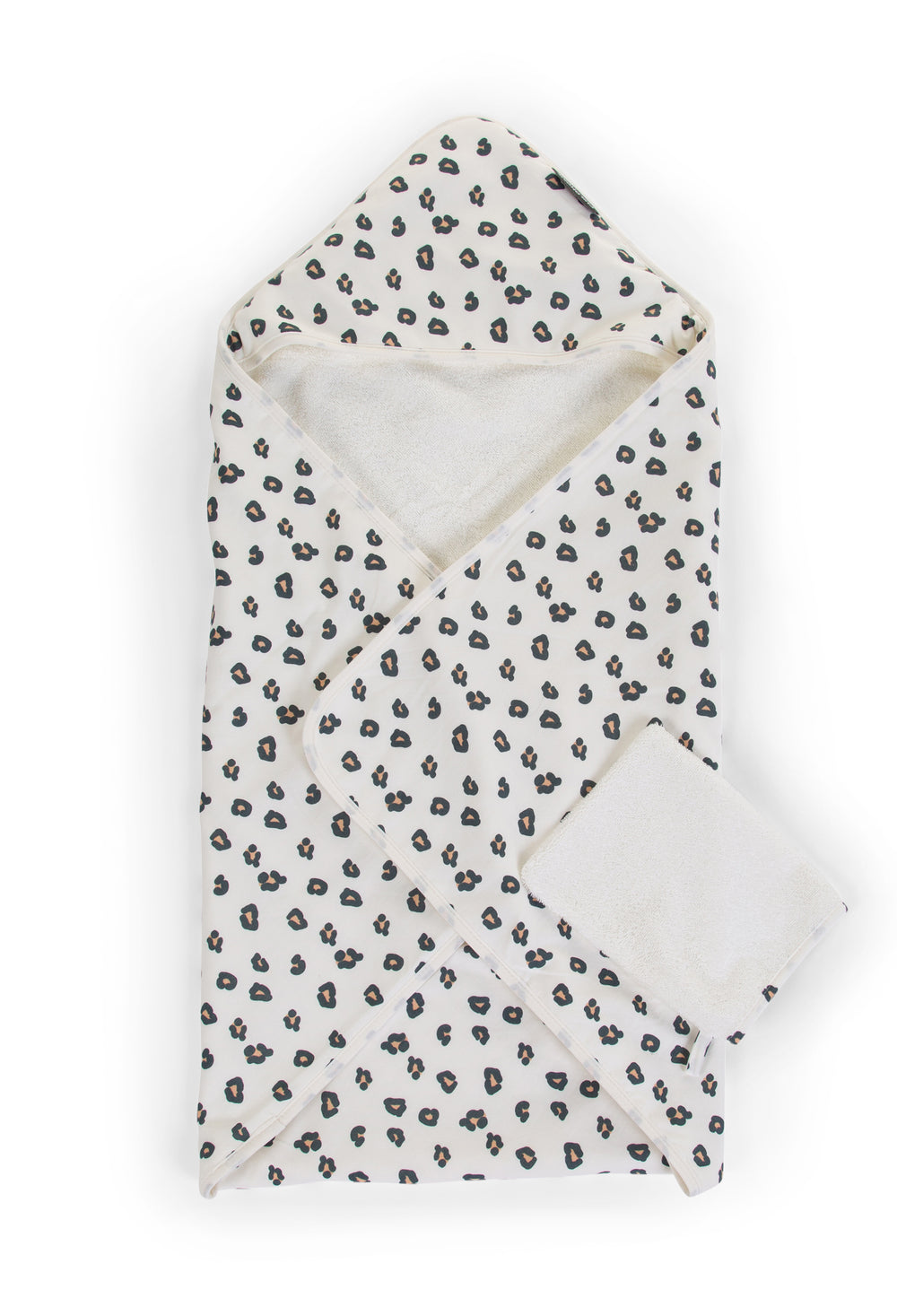 Childhome Bathcape & Facecloth - Jersey Leopard