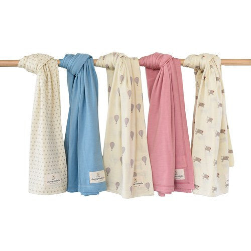 Merino Wool Swaddle Blanket - Windmills