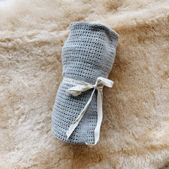 Natural Cotton Baby Blanket - Fog