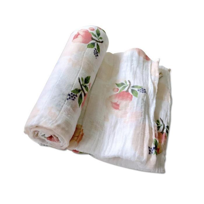 Little Unicorn Cotton Muslin Swaddle Blanket - Watercolor Roses