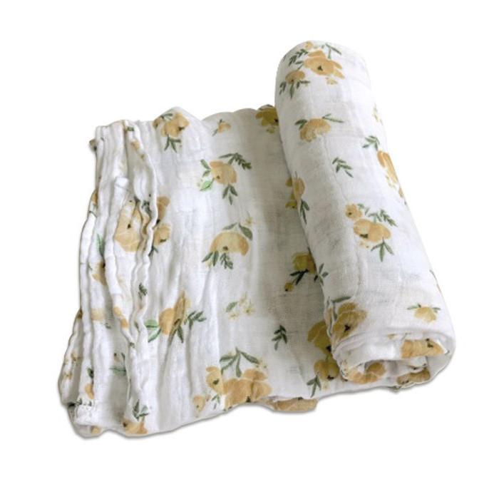Little Unicorn Yellow Rose Swaddle Blanket