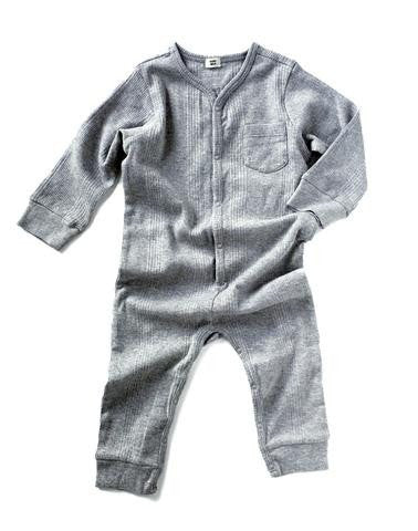 Goat-Milk Union Suit Ribbed - Heather Grey