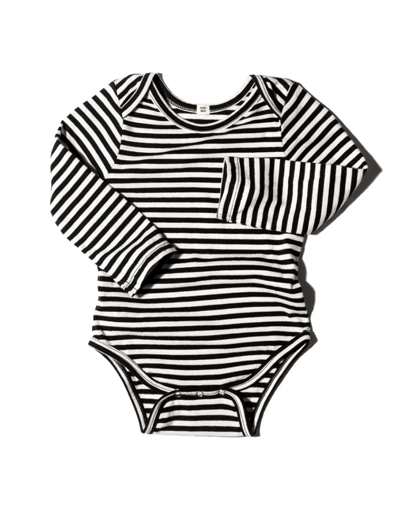 Goat-Milk Striped Long Sleeve Onepiece
