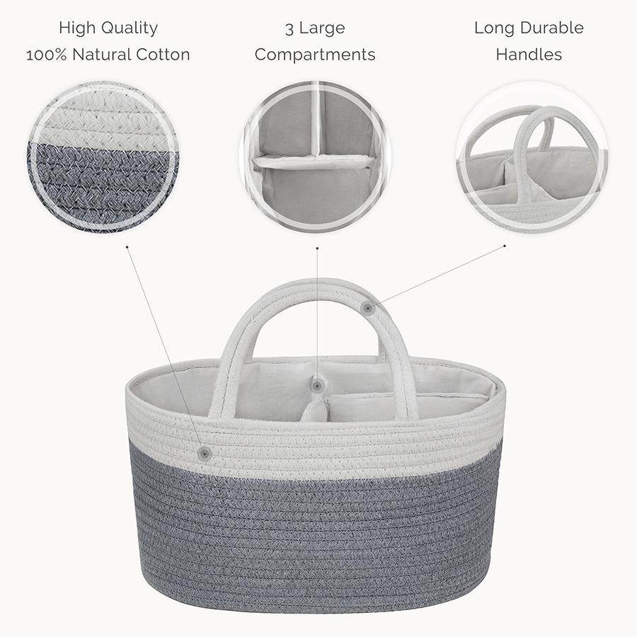 Natemia Cotton Rope Diaper Caddy Organizer