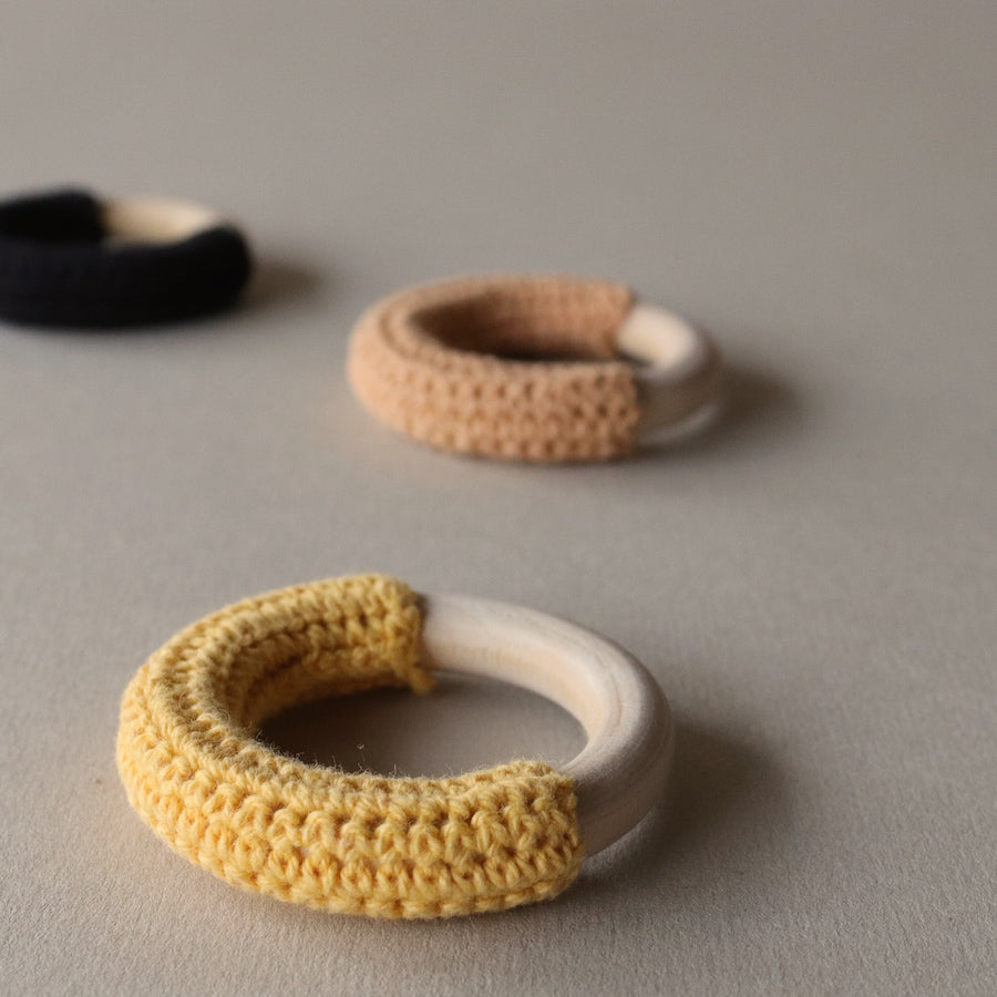 fawn&forest Mini Crochet Teether Set - Honey Bee