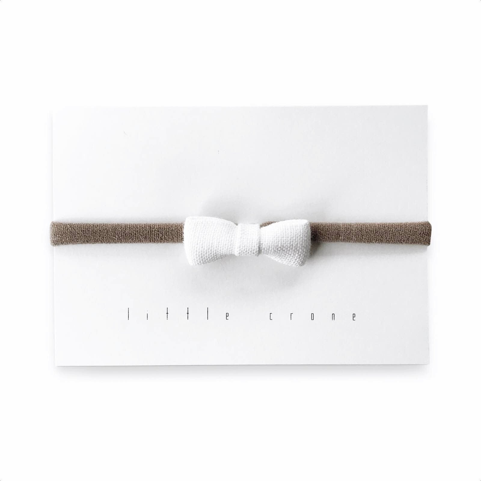 Little Crane Tiny White Linen Bow Headband