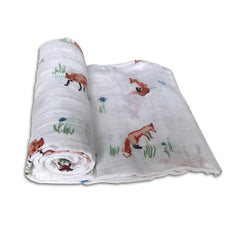 Little Unicorn Fox Swaddle Blanket