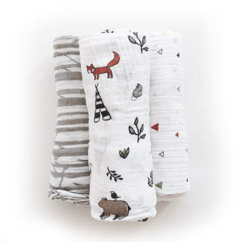 Little Unicorn Forest Friends Swaddle Set
