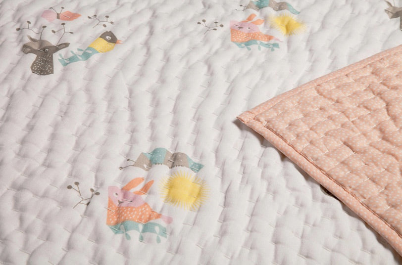Nursery Works Menagerie Organic Cotton Hand-Quilted Blanket