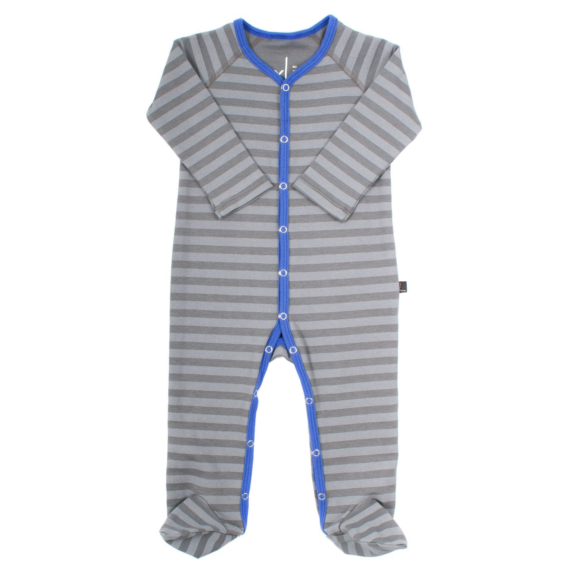 Organic Cotton Footies - Storm Stripe / Cobalt