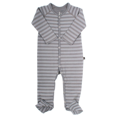 Organic Cotton Footies - Storm Stripe  / Storm