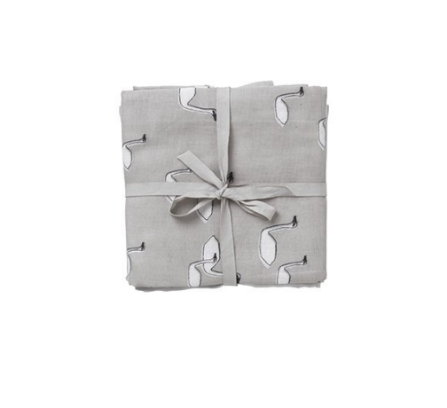 Ferm Living Kids Muslin Squares - Swans Grey (set of 3)