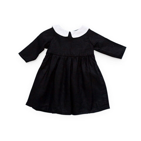 fawn&forest Tortoise & the Hare Alice Dress - Black Linen - fawn&forest