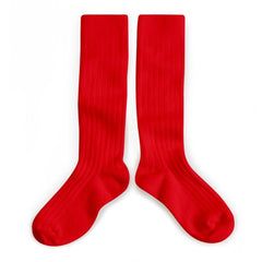 fawn&forest Collégien Vrai Rouge Red Knee High Socks - fawn&forest